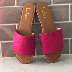 Lulus Suede Slide Sandals - Fuchsia, Size 6